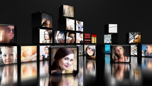 29732752 - television screens on black background with copy space
