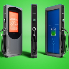Modern electric refueling with payment outside for electric car front view 3d render on green background with shadow